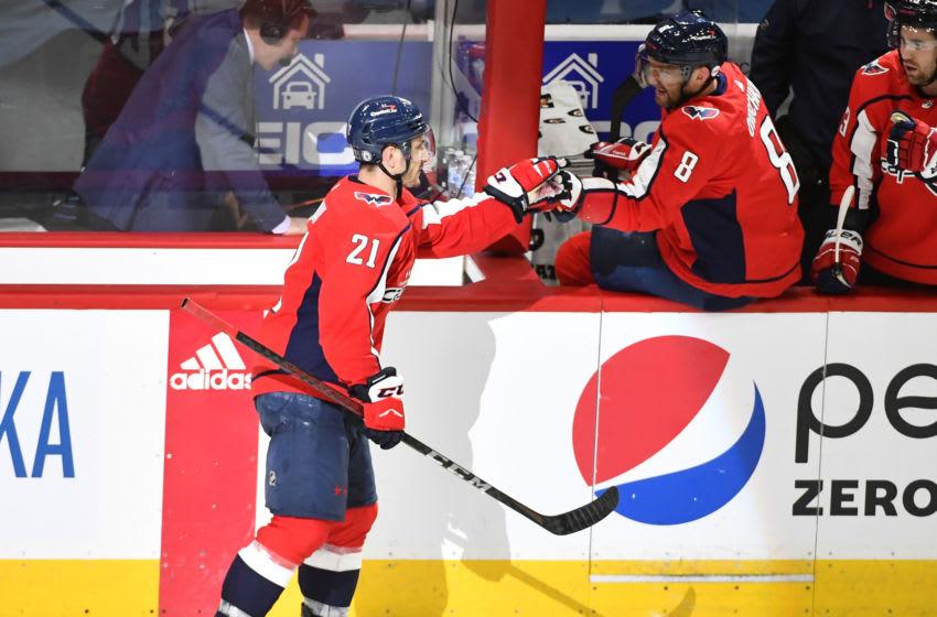 Garnet Hathaway, Alex Ovechkin, Washington Capitals Mandatory Credit: Brad Mills-USA TODAY Sports