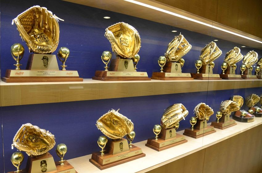 Jun 6, 2016; Los Angeles, CA, USA; General view of Golden Glove awards of Los Angeles Dodgers players at Dodger Stadium. Mandatory Credit: Kirby Lee-USA TODAY Sports