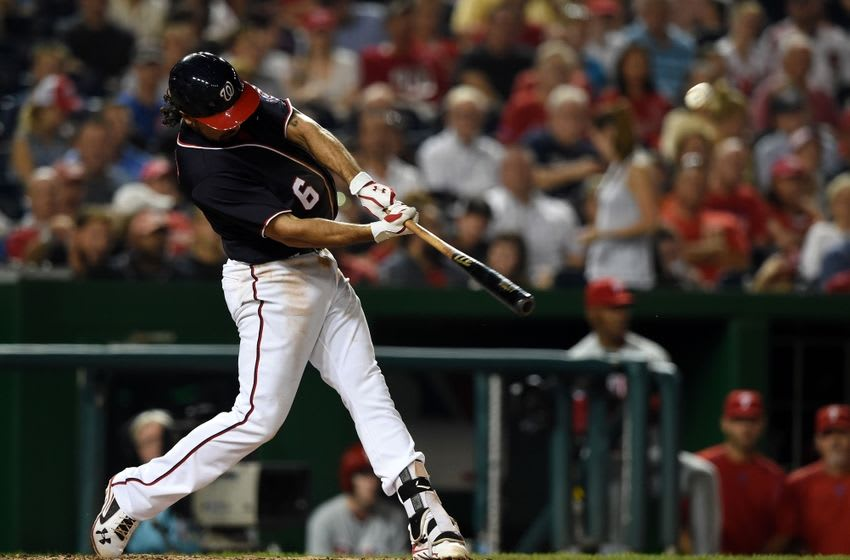 Sep 9, 2016; Washington, DC, USA; Washington Nationals third baseman Anthony Rendon (6) hits a rbi double during the fourth inning against the Philadelphia Phillies at Nationals Park. Mandatory Credit: Tommy Gilligan-USA TODAY Sports