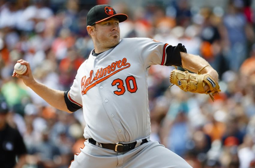 Sep 11, 2016; Detroit, MI, USA; Baltimore Orioles starting pitcher Chris Tillman (30) pitches in the first inning against the Detroit Tigers at Comerica Park. Mandatory Credit: Rick Osentoski-USA TODAY Sports