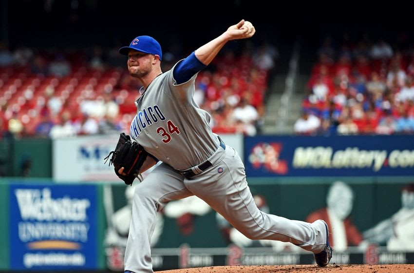 Sep 14, 2016; St. Louis, MO, USA; Chicago Cubs starting pitcher Jon Lester (34) pitches to a St. Louis Cardinals batter during the first inning at Busch Stadium. Mandatory Credit: Jeff Curry-USA TODAY Sports