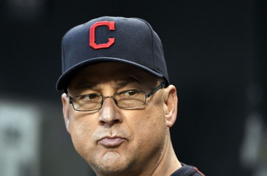 Sep 14, 2016; Chicago, IL, USA; Cleveland Indians manager Terry Francona (17) sits in the dugout prior to the game against the Chicago White Sox at U.S. Cellular Field. Mandatory Credit: David Banks-USA TODAY Sports