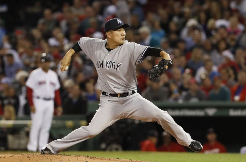 Sep 15, 2016; Boston, MA, USA; New York Yankees starting pitcher Masahiro Tanaka (19) throws a pitch against the Boston Red Sox in the second inning at Fenway Park. Mandatory Credit: David Butler II-USA TODAY Sports