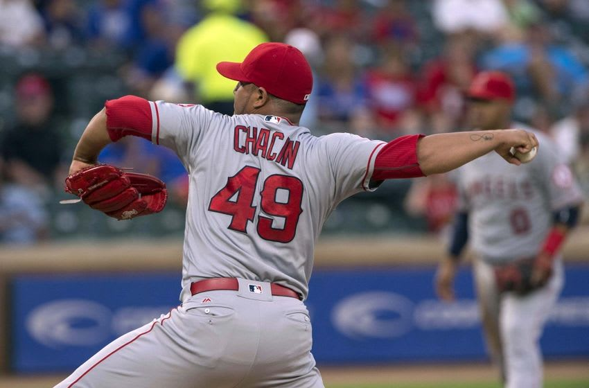 Sep 19, 2016; Arlington, TX, USA; Los Angeles Angels starting pitcher Jhoulys Chacin (49) pitches against the Texas Rangers during the first inning at Globe Life Park in Arlington. Mandatory Credit: Jerome Miron-USA TODAY Sports