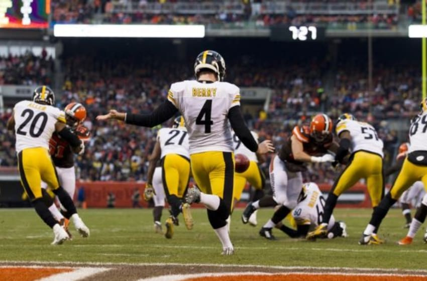 Jan 3, 2016; Cleveland, OH, USA; Pittsburgh Steelers punter Jordan Berry (4) punts the ball away during the second quarter against the Cleveland Browns at FirstEnergy Stadium. The Steelers defeated the Browns 28-12. Mandatory Credit: Scott R. Galvin-USA TODAY Sports