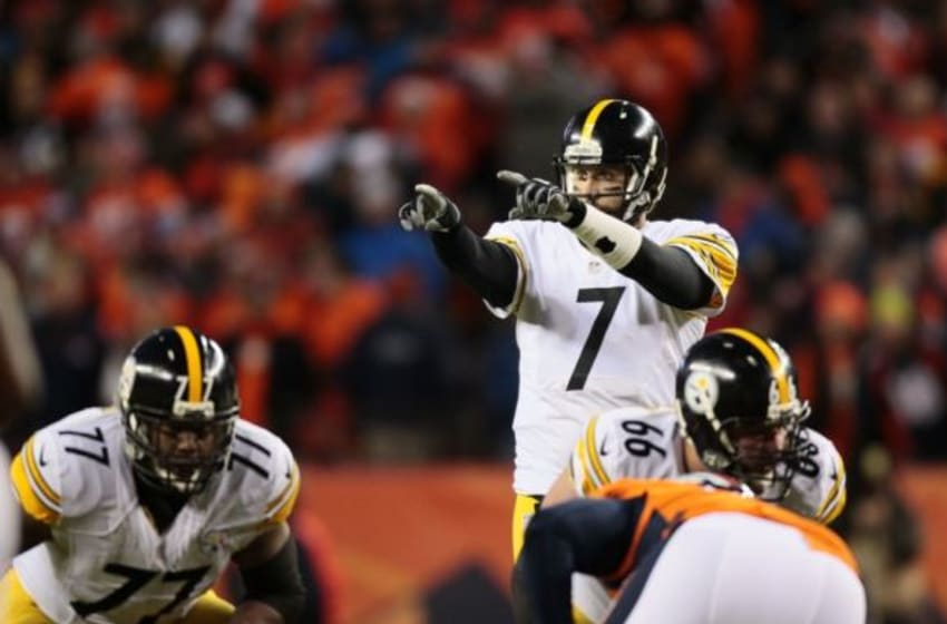Jan 17, 2016; Denver, CO, USA; Pittsburgh Steelers quarterback Ben Roethlisberger (7) at the line of scrimmage during the fourth quarter in a AFC Divisional round playoff game at Sports Authority Field at Mile High. Mandatory Credit: Isaiah J. Downing-USA TODAY Sports