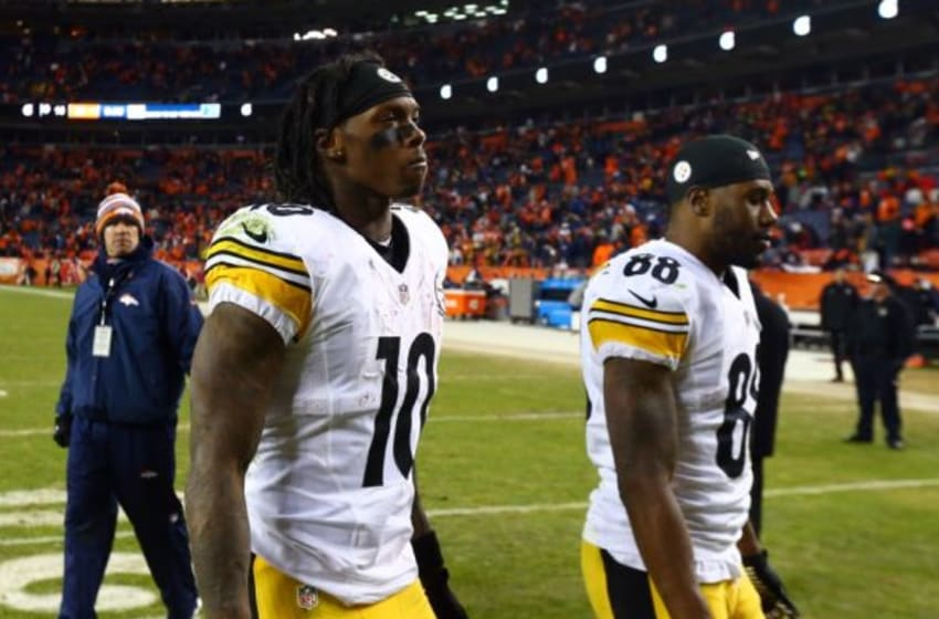 Jan 17, 2016; Denver, CO, USA; Pittsburgh Steelers wide receiver Martavis Bryant (10) and wide receiver Darrius Heyward-Bey (88) walk off the field after the AFC Divisional round playoff game against the Denver Broncos at Sports Authority Field at Mile High. Denver won 23-16. Mandatory Credit: Mark J. Rebilas-USA TODAY Sports