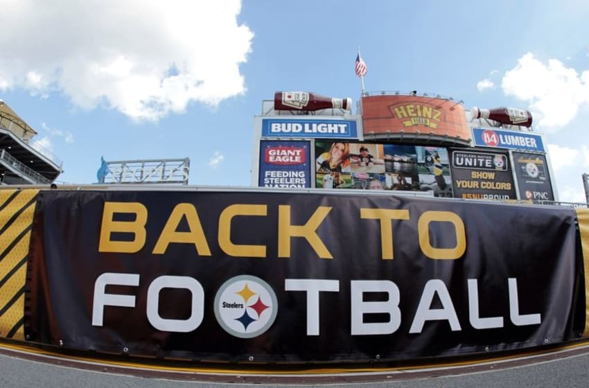 Aug 18, 2016; Pittsburgh, PA, USA; NFL signage in the end zone before the Pittsburgh Steelers host the Philadelphia Eagles at Heinz Field. Mandatory Credit: Charles LeClaire-USA TODAY Sports