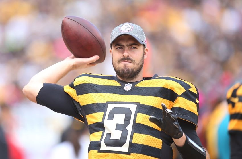 Oct 9, 2016; Pittsburgh, PA, USA; Pittsburgh Steelers quarterback Landry Jones (3) warms up on the sidelines against the New York Jets during the third quarter at Heinz Field. The Steelers won 31-13. Mandatory Credit: Charles LeClaire-USA TODAY Sports