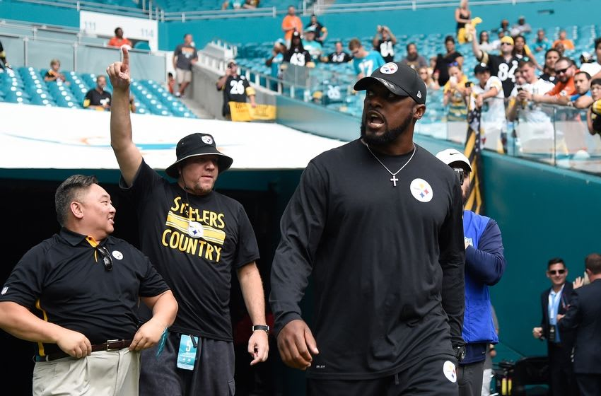 Oct 16, 2016; Miami Gardens, FL, USA; Pittsburgh Steelers head coach Mike Tomlin prior to a game against the Miami Dolphins at Hard Rock Stadium. Mandatory Credit: Steve Mitchell-USA TODAY Sports
