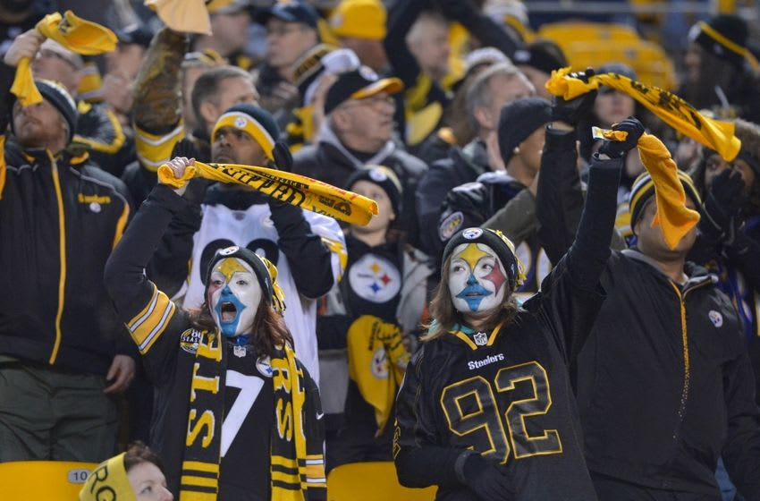 Jan 3, 2015; Pittsburgh, PA USA; Pittsburgh Steelers female fans with face paint wave Terrible Towels during an AFC wild card playoff game against the Baltimore Ravens at Heinz Field. Mandatory Credit: Kirby Lee-USA TODAY Sports