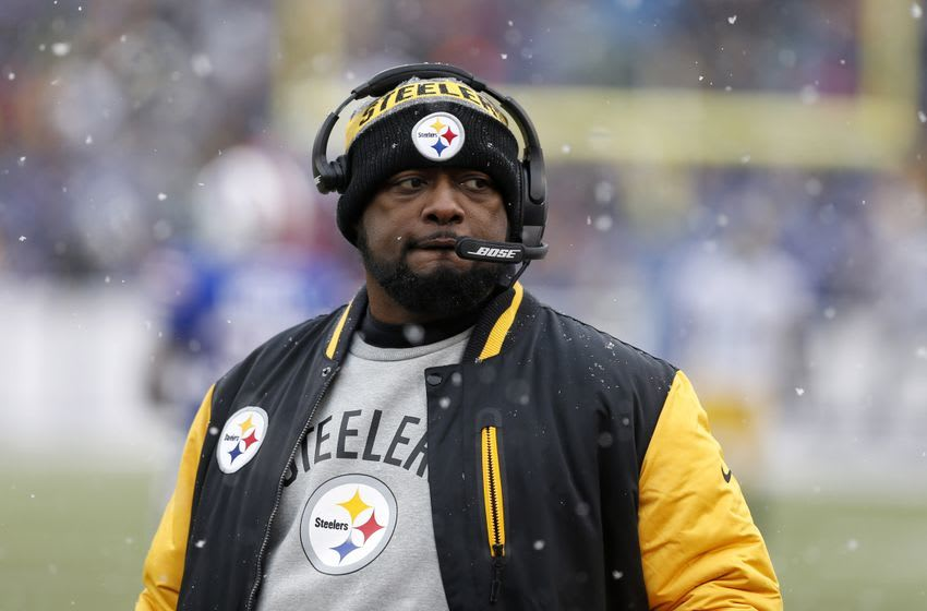 Dec 11, 2016; Orchard Park, NY, USA; Pittsburgh Steelers head coach Mike Tomlin looks on during the second half against the Buffalo Bills at New Era Field. Pittsburgh beat Buffalo 27-20. Mandatory Credit: Timothy T. Ludwig-USA TODAY Sports