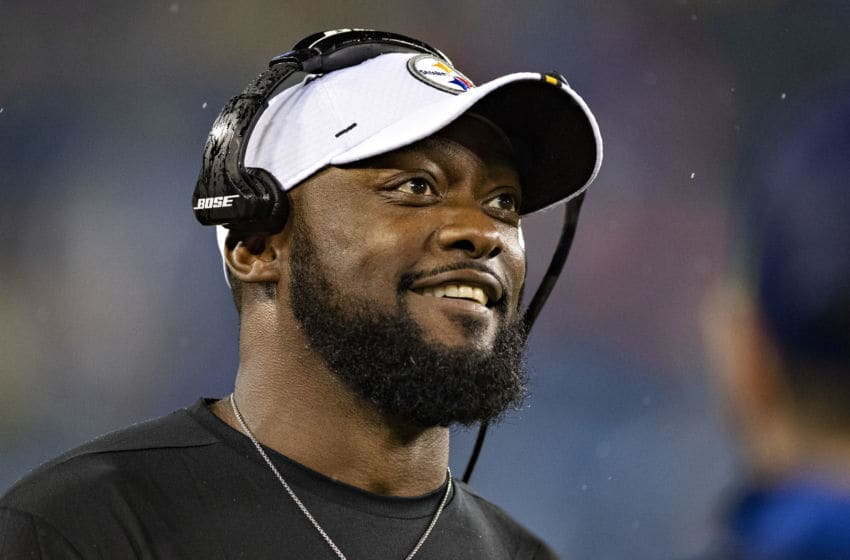 NASHVILLE, TN - AUGUST 25: Head Coach Mike Tomlin of the Pittsburgh Steelers on the sidelines during a game against the Tennessee Titans during week three of preseason at Nissan Stadium on August 25, 2019 in Nashville, Tennessee. The Steelers defeated the Titans 18-6. (Photo by Wesley Hitt/Getty Images)