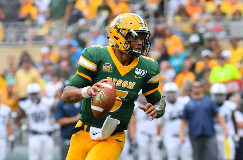 MINNEAPOLIS, MINNESOTA - AUGUST 31: Quarterback Trey Lance #5 of the North Dakota State Bison looks to pass against the Butler Bulldogs during their game at Target Field on August 31, 2019 in Minneapolis, Minnesota. (Photo by Sam Wasson/Getty Images)