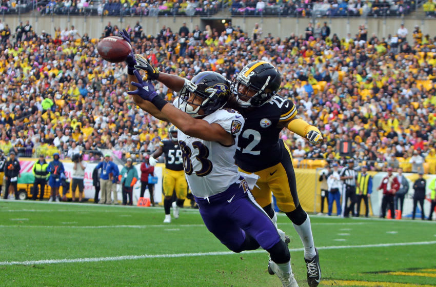 PITTSBURGH, PA - OCTOBER 06: Steven Nelson #22 of the Pittsburgh Steelers knocks a ball away from Willie Snead #83 of the Baltimore Ravens on October 6, 2019 at Heinz Field in Pittsburgh, Pennsylvania. (Photo by Justin K. Aller/Getty Images)