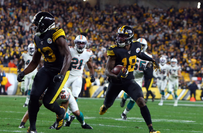 PITTSBURGH, PA - OCTOBER 28: Diontae Johnson #18 of the Pittsburgh Steelers catches a 45 yard touchdown pass in the first half against the Miami Dolphins on October 28, 2019 at Heinz Field in Pittsburgh, Pennsylvania. (Photo by Justin K. Aller/Getty Images)