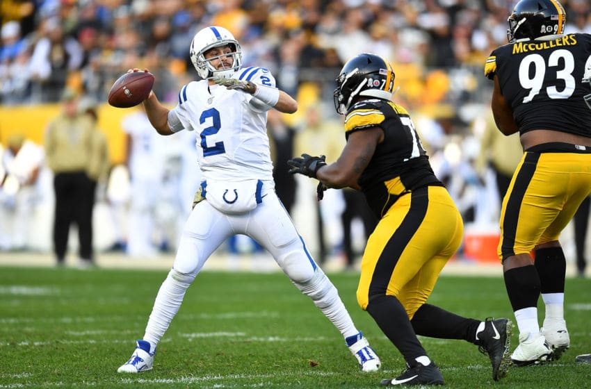 PITTSBURGH, PA - NOVEMBER 03: Brian Hoyer #2 of the Indianapolis Colts makes a pass in front of Javon Hargrave #79 of the Pittsburgh Steelers during the fourth quarter at Heinz Field on November 3, 2019 in Pittsburgh, Pennsylvania. (Photo by Joe Sargent/Getty Images)
