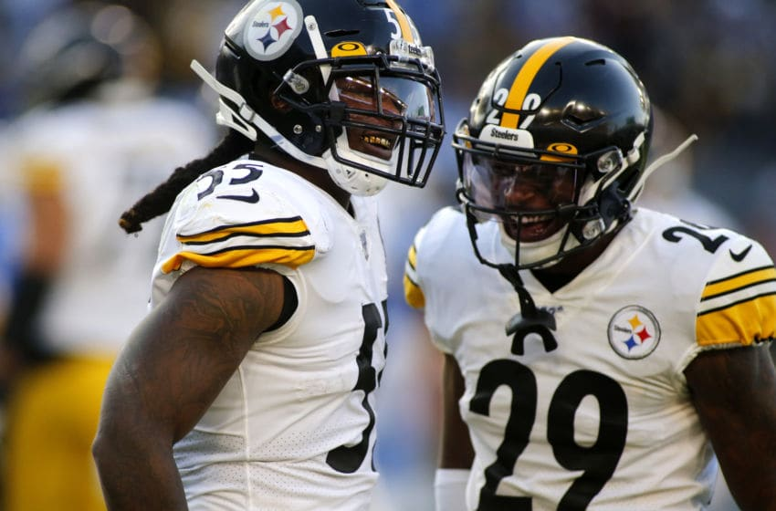 CARSON, CALIFORNIA - OCTOBER 13: Linebacker Devin Bush #55 and defensive back Kam Kelly #29 of the Pittsburgh Steelers react during the second quarter against the Los Angeles Chargers at Dignity Health Sports Park on October 13, 2019 in Carson, California. (Photo by Katharine Lotze/Getty Images)