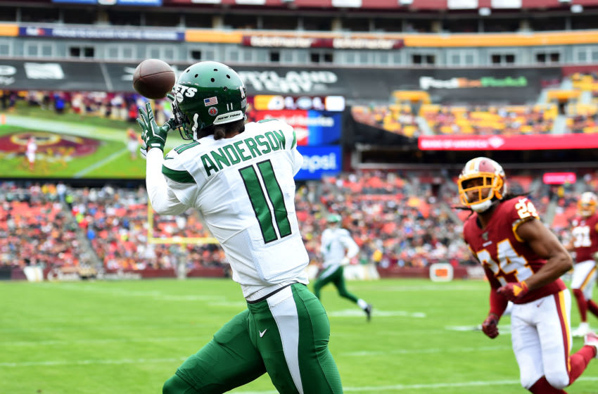 LANDOVER, MD - NOVEMBER 17: Robby Anderson #11 of the New York Jets makes a catch for a touchdown in front of Josh Norman #24 of the Washington Redskins during the first half at FedExField on November 17, 2019 in Landover, Maryland. (Photo by Will Newton/Getty Images)
