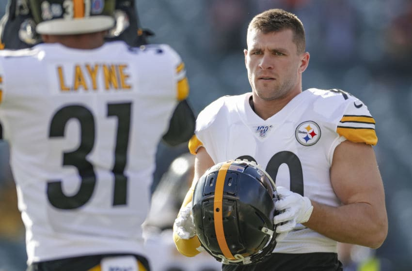 CINCINNATI, OH - NOVEMBER 24: T.J. Watt #90 of the Pittsburgh Steelers is seen before the game against the Cincinnati Bengals at Paul Brown Stadium on November 24, 2019 in Cincinnati, Ohio. (Photo by Michael Hickey/Getty Images)