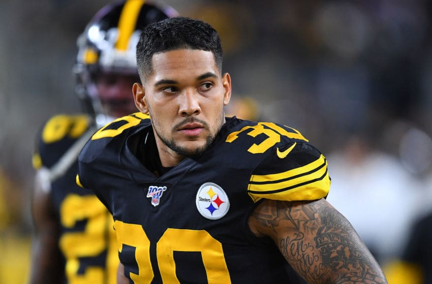 PITTSBURGH, PA - OCTOBER 28: James Conner #30 of the Pittsburgh Steelers looks on during the game against the Miami Dolphins at Heinz Field on October 28, 2019 in Pittsburgh, Pennsylvania. (Photo by Joe Sargent/Getty Images)