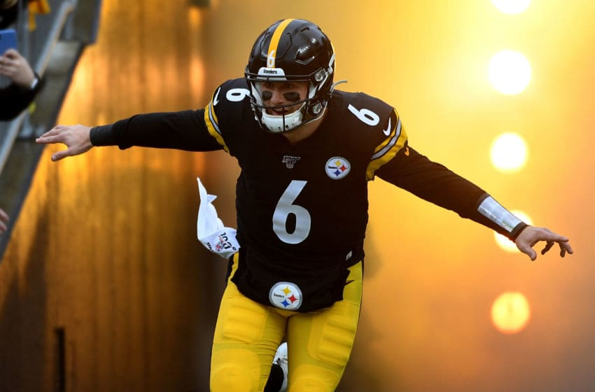 PITTSBURGH, PA - DECEMBER 01: Devlin Hodges #6 of the Pittsburgh Steelers runs onto the field during introductions before the game against the Cleveland Browns at Heinz Field on December 1, 2019 in Pittsburgh, Pennsylvania. (Photo by Justin Berl/Getty Images)
