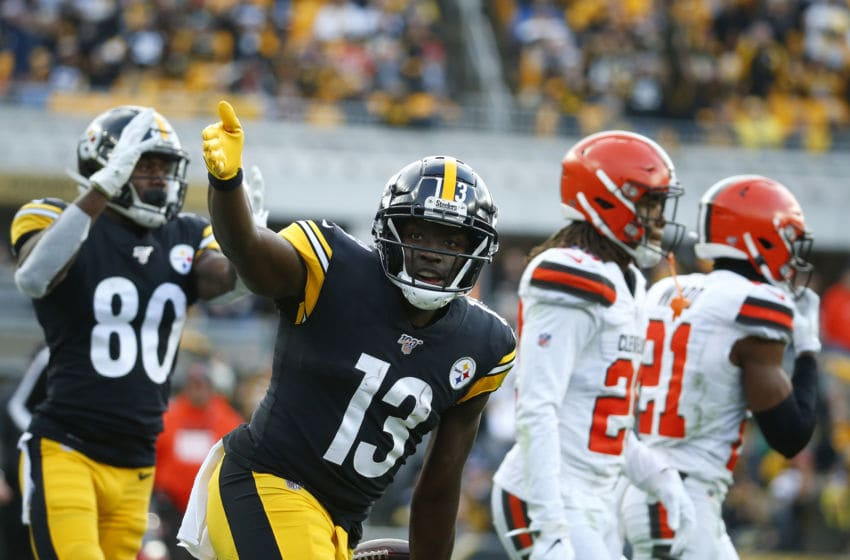 PITTSBURGH, PA - DECEMBER 01: James Washington #13 of the Pittsburgh Steelers reacts after making a catch against Denzel Ward #21 of the Cleveland Browns in the second half on December 1, 2019 at Heinz Field in Pittsburgh, Pennsylvania. (Photo by Justin K. Aller/Getty Images)