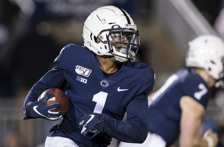 STATE COLLEGE, PA - NOVEMBER 30: KJ Hamler #1 of the Penn State Nittany Lions carries the ball against the Rutgers Scarlet Knights during the second half at Beaver Stadium on November 30, 2019 in State College, Pennsylvania. (Photo by Scott Taetsch/Getty Images)