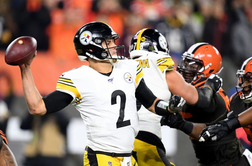 CLEVELAND, OHIO - NOVEMBER 14: Quarterback Mason Rudolph #2 of the Pittsburgh Steelers delivers a pass over the defense of the Pittsburgh Steelers during the game at FirstEnergy Stadium on November 14, 2019 in Cleveland, Ohio. (Photo by Jason Miller/Getty Images)