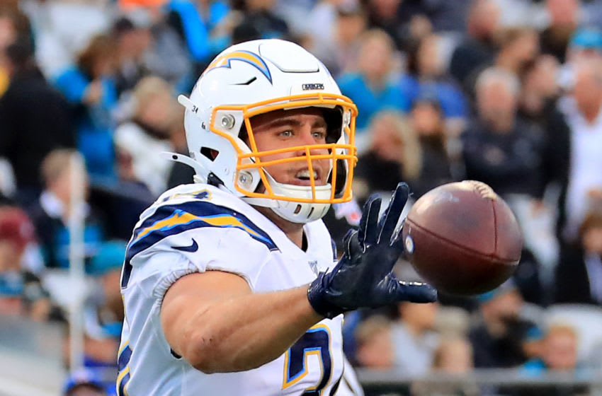JACKSONVILLE, FLORIDA - DECEMBER 08: Derek Watt #34 of the Los Angeles Chargers celebrates during the game against the Jacksonville Jaguars at TIAA Bank Field on December 08, 2019 in Jacksonville, Florida. (Photo by Sam Greenwood/Getty Images)