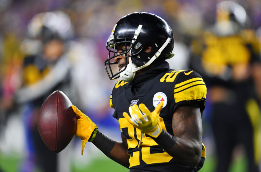 PITTSBURGH, PENNSYLVANIA - DECEMBER 15: Mike Hilton #28 of the Pittsburgh Steelers reacts after recovering a fumble during the third quarter against the Buffalo Bills in the game at Heinz Field on December 15, 2019 in Pittsburgh, Pennsylvania. (Photo by Joe Sargent/Getty Images)