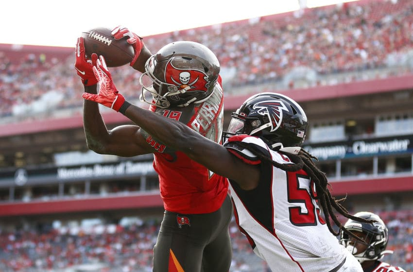 TAMPA, FLORIDA - DECEMBER 29: Breshad Perriman #19 of the Tampa Bay Buccaneers catches a touchdown pass against the Atlanta Falcons during the first half at Raymond James Stadium on December 29, 2019 in Tampa, Florida. (Photo by Michael Reaves/Getty Images)