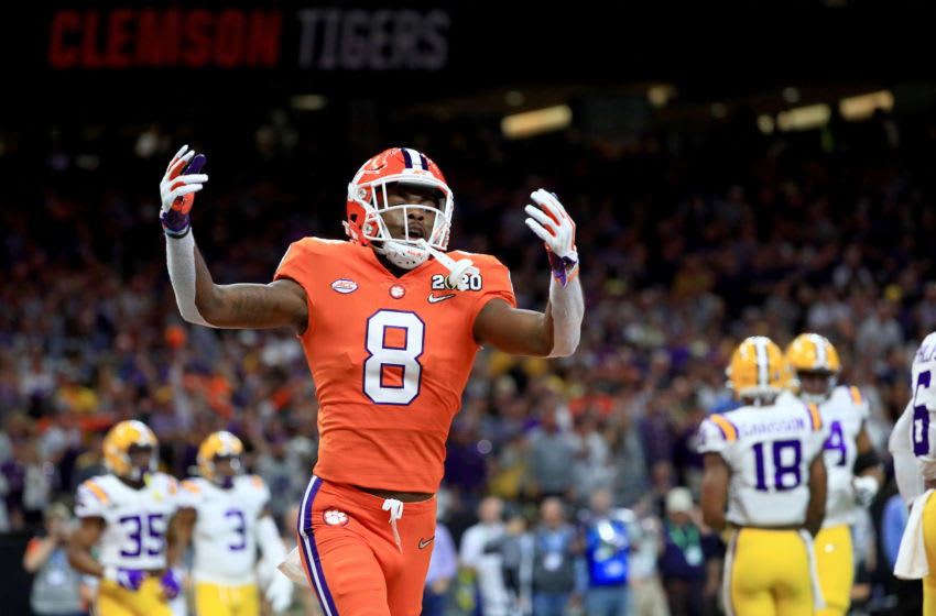 NEW ORLEANS, LOUISIANA - JANUARY 13: A.J. Terrell #8 of the Clemson Tigers celebrates against the LSU Tigers in the College Football Playoff National Championship game at Mercedes Benz Superdome on January 13, 2020 in New Orleans, Louisiana. (Photo by Mike Ehrmann/Getty Images)