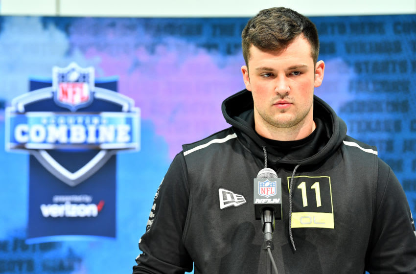 INDIANAPOLIS, INDIANA - FEBRUARY 26: Ezra Cleveland #OL11 of Boise State interviews during the second day of the 2020 NFL Scouting Combine at Lucas Oil Stadium on February 26, 2020 in Indianapolis, Indiana. (Photo by Alika Jenner/Getty Images)