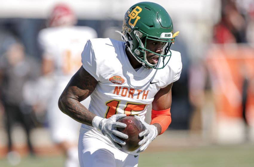 MOBILE, AL - JANUARY 25: Wide Receiver Denzel Mims #15 from Baylor of the North Team during the 2020 Resse's Senior Bowl at Ladd-Peebles Stadium on January 25, 2020 in Mobile, Alabama. The Noth Team defeated the South Team 34 to 17. (Photo by Don Juan Moore/Getty Images)