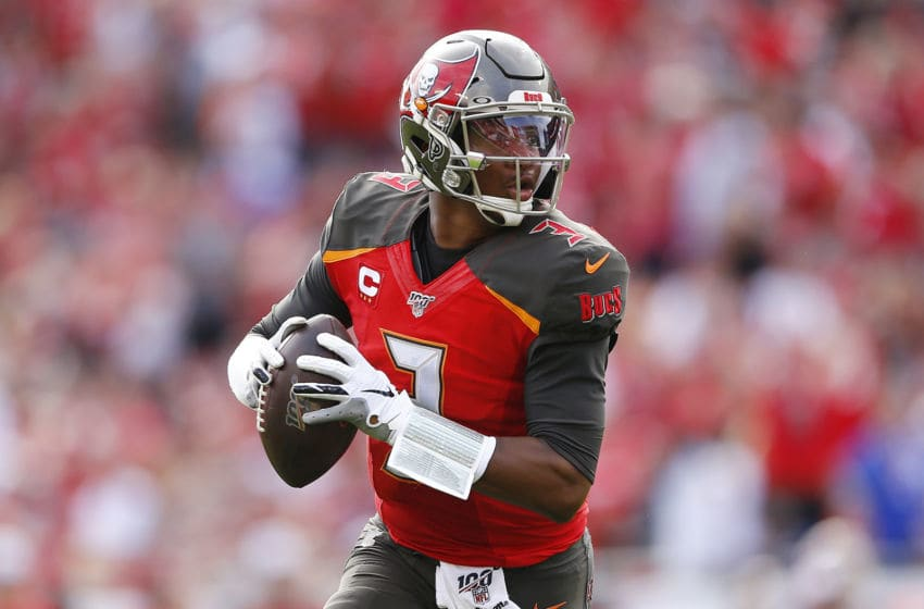 TAMPA, FLORIDA - DECEMBER 29: Jameis Winston #3 of the Tampa Bay Buccaneers in action against the Atlanta Falcons at Raymond James Stadium on December 29, 2019 in Tampa, Florida. (Photo by Michael Reaves/Getty Images)