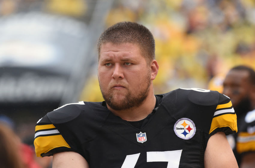 PITTSBURGH, PA - SEPTEMBER 18: Offensive lineman B.J. Finney #67 of the Pittsburgh Steelers looks on from the sideline during a game against the Cincinnati Bengals at Heinz Field on September 18, 2016 in Pittsburgh, Pennsylvania. The Steelers defeated the Bengals 24-16. (Photo by George Gojkovich/Getty Images)