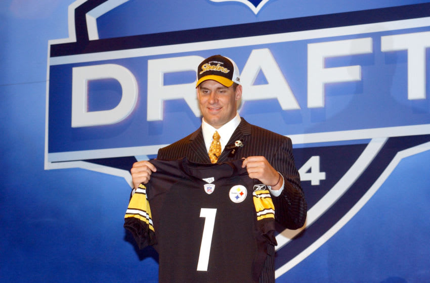 Pittsburgh Steelers # 1 draft pick of 2004 Ben Roethlisberger smiles after being drafted by the Pittsburgh Steelers at the 2004 NFL Draft - Day One (Photo by Tom Berg/Getty Images)