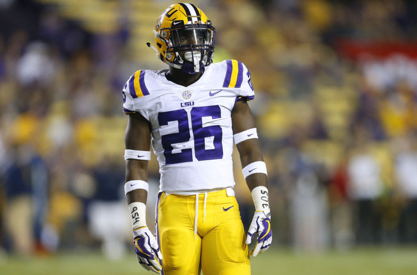 BATON ROUGE, LA - SEPTEMBER 09: John Battle #26 of the LSU Tigers wears the numbers 954 and 305 on his wrists during the second half of a game against the Chattanooga Mocs at Tiger Stadium on September 9, 2017 in Baton Rouge, Louisiana. The numbers are area codes for south Florida where his home town of Hallandale is currently under threat from Hurricane Irma. (Photo by Jonathan Bachman/Getty Images)