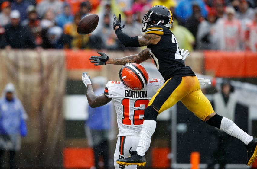 CLEVELAND, OH - SEPTEMBER 09: Joe Haden #23 of the Pittsburgh Steelers breaks up a pass intended for Josh Gordon #12 of the Cleveland Browns during the third quarter at FirstEnergy Stadium on September 9, 2018 in Cleveland, Ohio. (Photo by Joe Robbins/Getty Images)