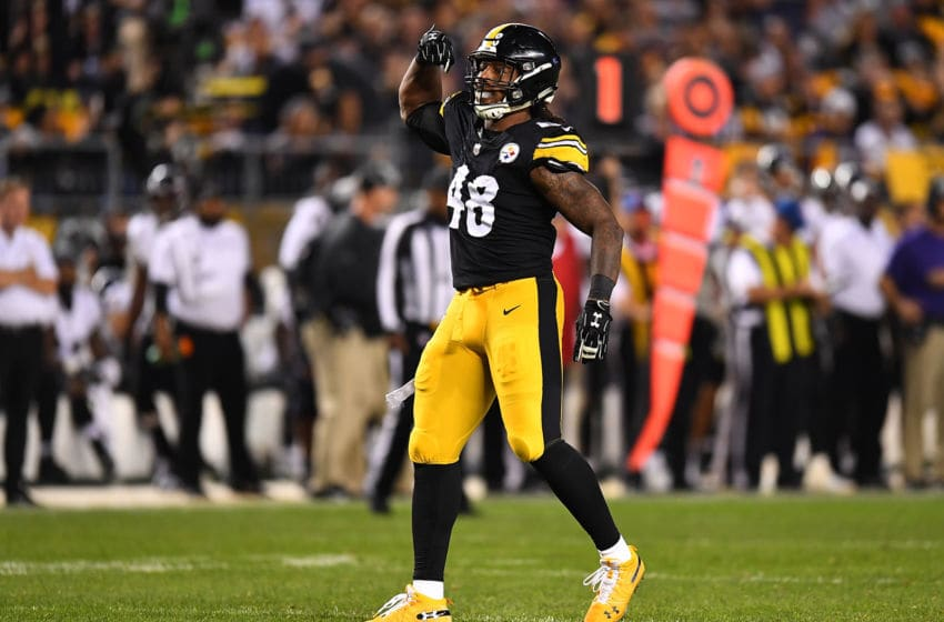 PITTSBURGH, PA - SEPTEMBER 30: Bud Dupree #48 of the Pittsburgh Steelers reacts after a sack in the second quarter during the game against the Baltimore Ravens at Heinz Field on September 30, 2018 in Pittsburgh, Pennsylvania. (Photo by Joe Sargent/Getty Images)