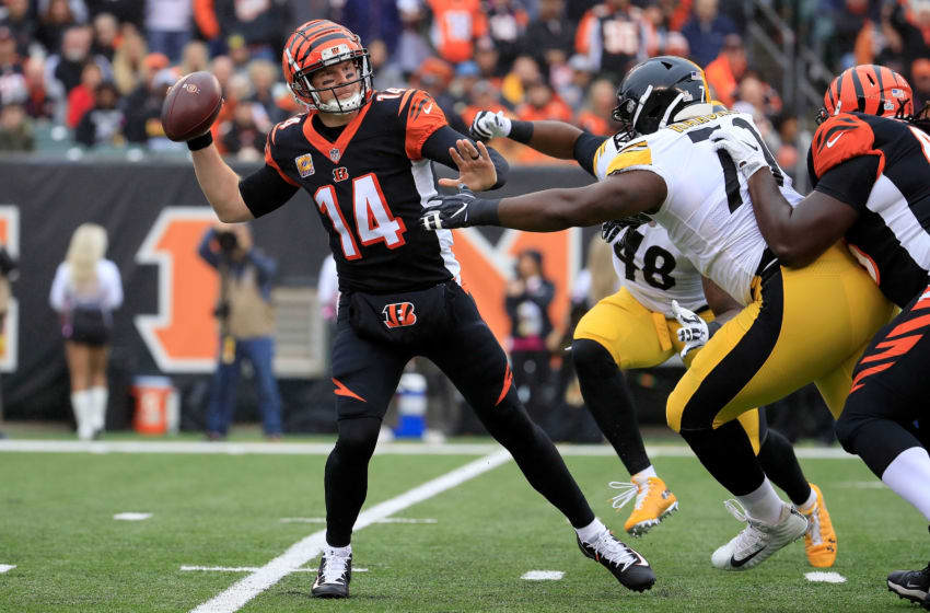 CINCINNATI, OH - OCTOBER 14: Javon Hargrave #79 of the Pittsburgh Steelers pressures Andy Dalton #14 of the Cincinnati Bengals during the first quarter at Paul Brown Stadium on October 14, 2018 in Cincinnati, Ohio. (Photo by Andy Lyons/Getty Images)