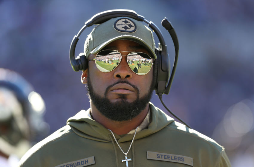 BALTIMORE, MD - NOVEMBER 04: Head Coach Mike Tomlin of the Pittsburgh Steelers looks on from the sidelines in second quarter against the Baltimore Ravens at M&T Bank Stadium on November 4, 2018 in Baltimore, Maryland. (Photo by Will Newton/Getty Images)