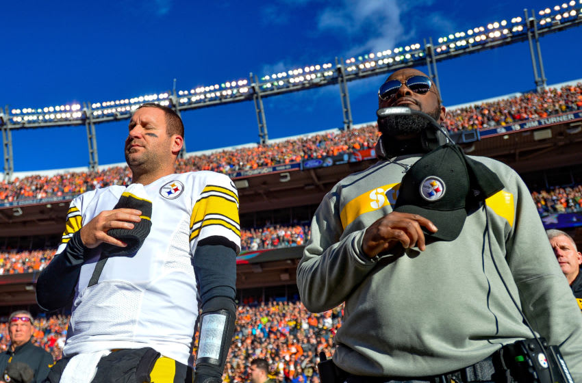 DENVER, CO - NOVEMBER 25: Quarterback Ben Roethlisberger #7 and head coach Mike Tomlin of the Pittsburgh Steelers stand during the national anthem before a game against the Denver Broncos at Broncos Stadium at Mile High on November 25, 2018 in Denver, Colorado. (Photo by Dustin Bradford/Getty Images)