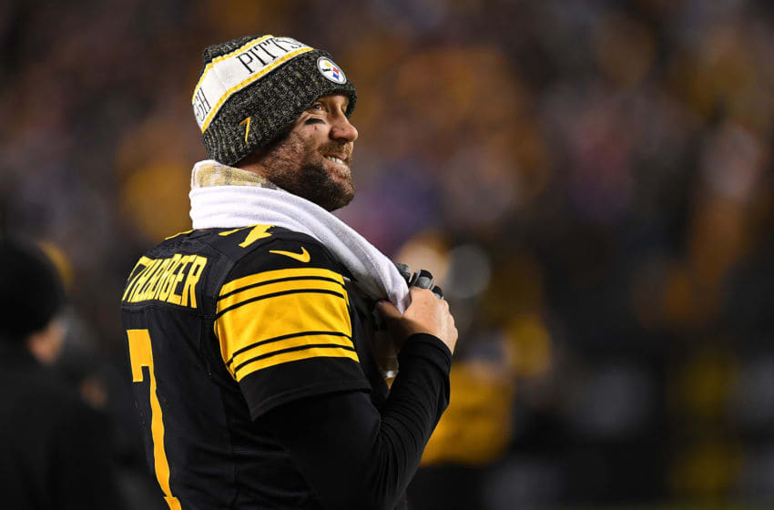 PITTSBURGH, PA - DECEMBER 16: Ben Roethlisberger #7 of the Pittsburgh Steelers smiles as he looks on in the fourth quarter during the game against the New England Patriots at Heinz Field on December 16, 2018 in Pittsburgh, Pennsylvania. (Photo by Joe Sargent/Getty Images)