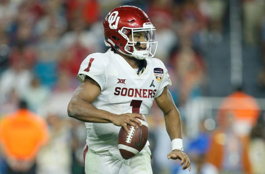 MIAMI, FL - DECEMBER 29: Kyler Murray #1 of the Oklahoma Sooners looks to pass against the Alabama Crimson Tide during the College Football Playoff Semifinal at the Capital One Orange Bowl at Hard Rock Stadium on December 29, 2018 in Miami, Florida. (Photo by Michael Reaves/Getty Images)