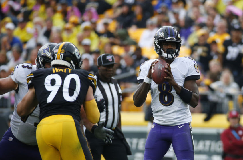 Lamar Jackson #8 of the Baltimore Ravens in action against the Pittsburgh Steelers. (Photo by Justin K. Aller/Getty Images)