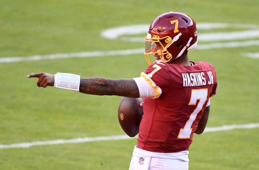 Dwayne Haskins Jr. #7 of the Washington Football Team. (Photo by Will Newton/Getty Images)