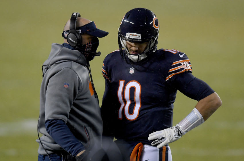 Head coach Matt Nagy of the Chicago Bears talks with Mitchell Trubisky #10. (Photo by Quinn Harris/Getty Images)