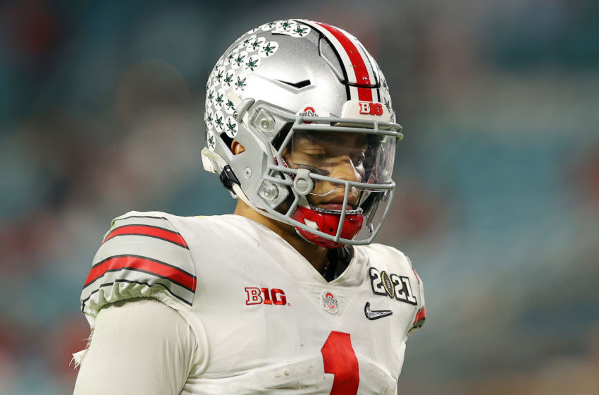 Justin Fields #1 of the Ohio State Buckeyes. (Photo by Kevin C. Cox/Getty Images)